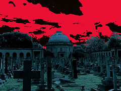 Brompton Cemetery (Version 3) (Terterian - A million+ views, thanks.) Tags: uk red moon black london beauty cemetery grave graveyard photoshop nude stars dead death scary memorial cross turquoise headstone fear ghost tomb victorian experiment crosses creepy spooky dome burial moonlight macabre remembrance ghostly angelic nocturne plinth tombs ghoul brompton mortuary cemetiere nocturnalsepulchre