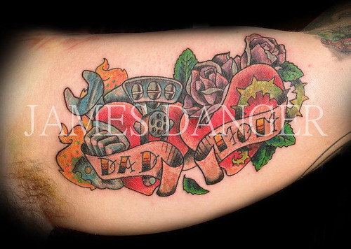 James Danger Mom Dad Hearts Tattoo by James Danger Tattoo