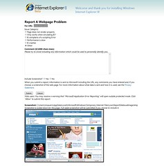 Report a problem in IE8 Beta