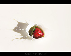 Strawberry Milk Splash ! (Faisal | Photography) Tags: white speed canon eos is milk high strawberry ali l usm splash 2008 onwhite ef f4 faisal 24105mm 50d flickrsbest topcso