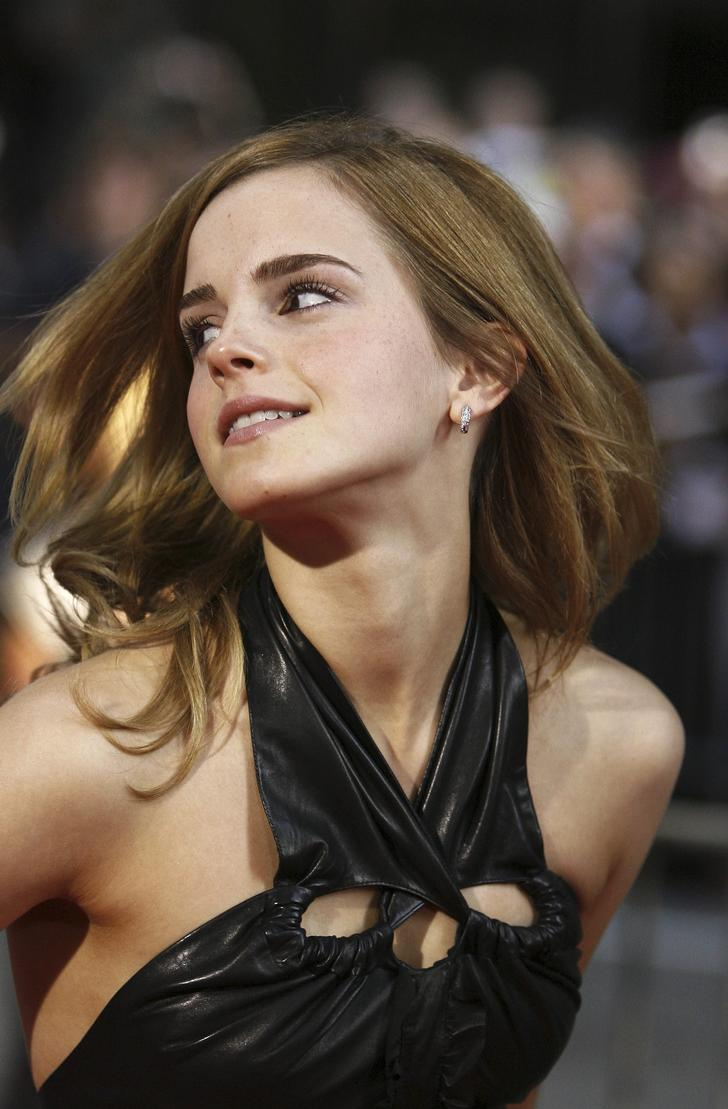 Emma Watson wearing leather