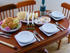 Dinner Party (Shay Aaron) Tags: thanksgiving food house chicken scale kitchen feast dinner turkey bread lunch miniature doll dish rice handmade aaron fake mini bowl gourmet fimo tiny meal grapes peas faux shay carrots 12th 112 serving dollhouse petit fridaynight twelfth roastchicken pilaf whiterice pulao shayaaron