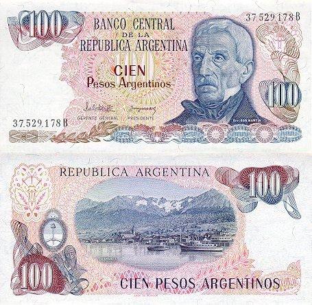 100 Pesos Argentinos Argentína 1983-85