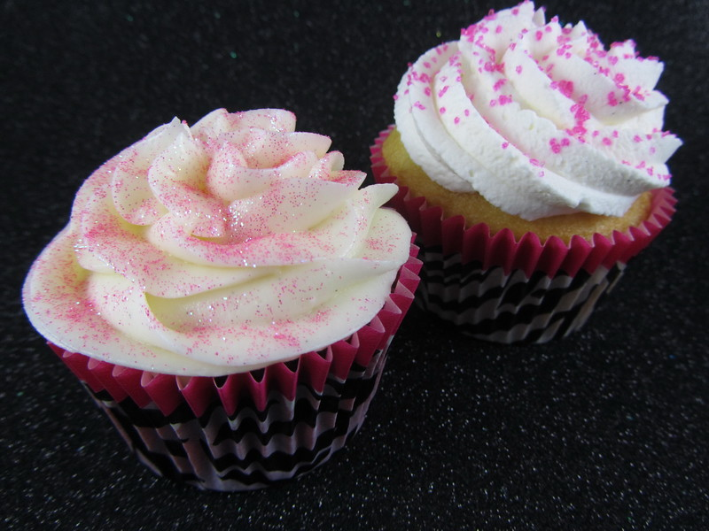 Red Velvet Cupcake with Cream Cheese Frosting & Strawberry Shortcupcake with Hot Pink Sugar