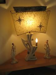 Lamp with my old dancers. (sparkleneely) Tags: love lamp vintage shopping march retro fiberglass 2008 starburst vintagelamp estatesales 1950slamp 1950srecentfinds goldconfetti