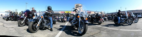 Bikers ready to leave El Paso, Texas, USA