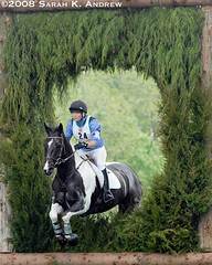 Ringmoylan and Jane Jennings go through the Key Hole (Rock and Racehorses) Tags: horse irish white black sport crosscountry event xc keyhole pinto dressage eventer jerseyfresh ringmoylan irishsporthorse