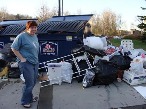 Dumpster diving.