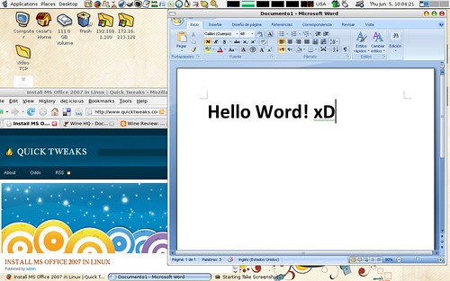 Word running on Linux