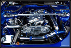 Awesome Engine Bay - Twin Turbo FX (CandlestickPark) Tags: ca car skyline nikon nissan wheels turbo socal tvs soundsystem nikkor custom fx rims rare meet g35 lowered dropped 350z jdm intercooler gauges supercharger bbk supercharged slammed gtr coilovers torrance kenstyle widebody hotimportnights showcar bodykit custompaint 350gt enginebay d40 rotora bigbrakekit wilwood 18200vr g37 rollingshot rickyandronnies nikond40 doubledin airridesuspension infiiti rarejdm