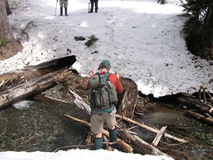 Jim crossing DeRoux Creek