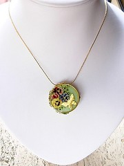 Pansy Nectar reversible Pendant