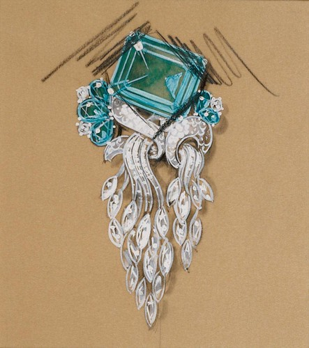 Cartier brooch design (Platinum setting with blue topaz and cascading diamonds)