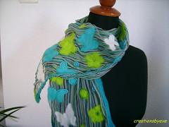 butterflies on stripes scarf (creationsbyeve) Tags: flowers scarf beads felting handmade stripes butterflies felt athens greece