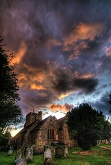 Flaming sunset (Erasmus T) Tags: sunset england sky orange stpeters church clouds westsussex flame hdr cowfold 0707 photomatix paisajesdepueblosycampos