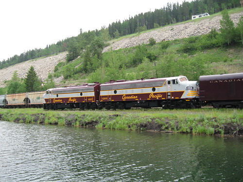 Locos, Royal Canadian Pacific, at Summit Lake in the Rockies