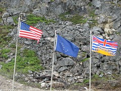 July 4 Back In The USA (mamanat) Tags: railroad canada alaska landscape railway americanflag whitehorse whitepass alaskaflag whitepassandyukonrouterailway flagofbritishcolumbia alaskarailway 4seasonsalaska2008