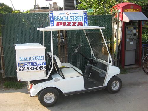 No motorized vehicles? No problem. Pizza delivery via golf cart, on Fire Island, New York