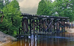 Duke's Trestle (scottnj) Tags: trestle trees sky favorite usa green water clouds america creek newjersey nj best swimminghole cedarcreek bayville bestofthebest railroadtrestle traintrestle woodentraintrestle hebrewpark scottnj gc1b7r4 woodenrailroadtrestle