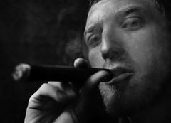 (Mik Thorvaldsen) Tags: light portrait blackandwhite bw man contrast eyes shadows smoke cigar bn ombre smoking burn dodge ritratto luce biancoenero contrasto micheletorsello