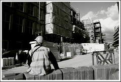 Hanover Street (Brian Sayle) Tags: paradiseproject areaone liverpoolone liverpool1 bigdig hanoverstreet blackandwhite blackwhite people construction towercrane building buildingsite 2008 capitalofculture urban city skyscraper liverpool centre liverpoolcitycentre citycentre apartment apartments skyline england architecture 4737carlin portrait person candid canon 400d canon400d canon1740 ef1740mmf4lusm 1740 streetphotography