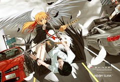 Cain and Abel (P-Shinobi) Tags: anime art angel pencil photoshop computer painting wings cg graphics drawing manga alfa romeo katana abel audi a5 s5 cain 159       pshinobi goldstaraward  boomslank