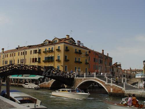 Venice  . gondolas, canal, hotel