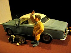 Scratch-Built 'Columbo' Peugeot 403 Car: Plastic Model Car By HELLER: Diorama  - 1 of 10 (Kelvin64) Tags: show dog car tv cop series peugeot diorama columbo columbos lieute