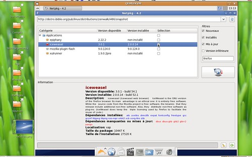 Installation d'iceweasel 3.0.1 sous Zenwalk