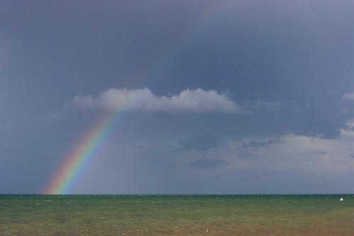Arc en ciel sur la mer, en Normandie