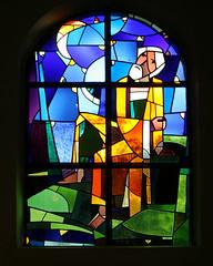 Stained Glass Window (Mukumbura) Tags: blue wedding orange black green church window glass germany munich bavaria person purple stained figure lead stainedglasswindow olching