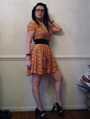 Sept. 15, 2008 (Samantha.Doll) Tags: cute floral vintage hair glasses belt outfit high dress johnson adorable daily curly heels sammy betsey marni sammydoll thesammydoll dollhousechic
