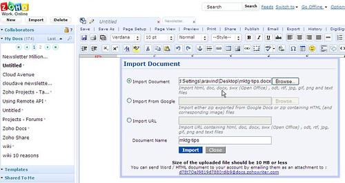 Zoho Writer import docx