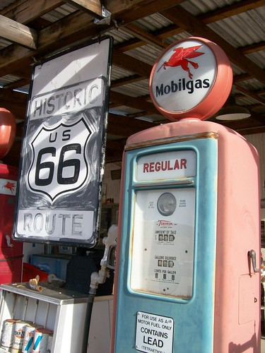 Mobilgas pump at Hackberry General Store along Route 66 in Arizona - highway66021x
