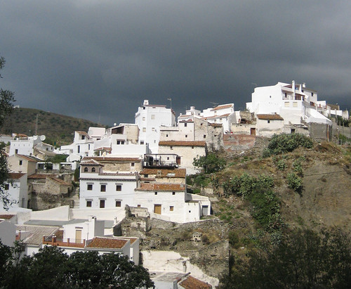 Salares village and thunder cloud
