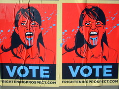 frightening prospect (rick) Tags: sanfrancisco blue red animal sarah poster scary blood san francisco fear politics vice presidential demon beast tina vote scare 2008 prospect lookalike frightening palin fey moster tinafey sarahpalin paylin frighteningprospectcom