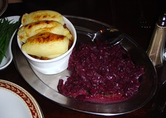 Cottage pie with braised red cabbage at The Dogs restaurant, Edinburgh