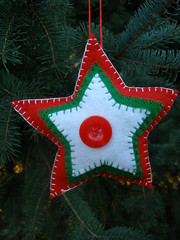 Red Christmas Star Ornament or Gift Embellishment (Pictures by Ann) Tags: christmas winter red white color green home wool colors three natural bright handmade embroidery sewing decoration vivid sew felt ornament gift embellishment tricolor present stocking decor embroidered homedecor sewn threecolor madebyhand gifttag allnatural madeintheus stuffer madeintheusa handembroidered womanmade madebyawoman harvestmoonbyhand embroideredbyhand