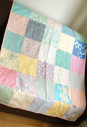 pink cot quilt open