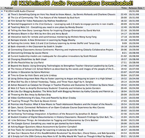 All K12Online08 Audio Presentations Downloaded!