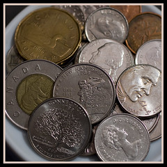 O.K. Let's talk about change. (Lisa Ouellette) Tags: canada notes coins sixwordstory change freshies flickrstory ferniebc explored27 canonefs50mmf25 tellingastorywithpocketchange sacphotographerschallengechange