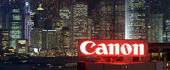 Canon Panorama (A Sutanto) Tags: china city hk sign skyline architecture night canon buildings hongkong lights hotel view billboard advertisement signage kowloon ifc hsbc hkg offices skygarden southchina ifc2 hotelpanorama