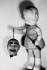 Creepy Doll Decapitation in White (Charlie the Cheeky Monkey) Tags: creepydoll canon decapitation gore horror strange weird odd whatthehell lighting freak doll mutilation talking head