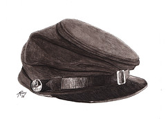 Civil War Forage Cap, Ink Drawing (rufus.ovcwa) Tags: blackandwhite bw stilllife infantry paper soldier army uniform union civilwar cap nib inkdrawing penandink penandinkdrawing foragecap