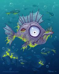 Zombiefish (John Schwegel) Tags: ocean sea fish toxic water zombie cartoon spooky pollution bones bone slime waste hook