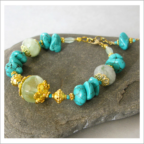 Deluxe Gold Green Fluorite and Turquoise Bracelet2