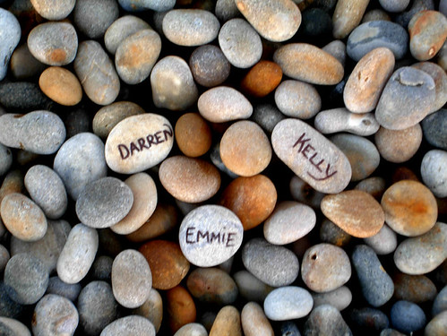Names written on pebbles, Chesil Beach