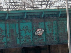 An old Chicago & Northwestern Railroad logo on a bridge. Chicago Illinois. January 2007.