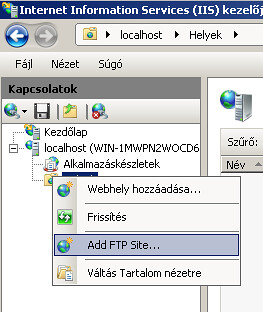 IIS kezelője: FTP oldal létrehozása