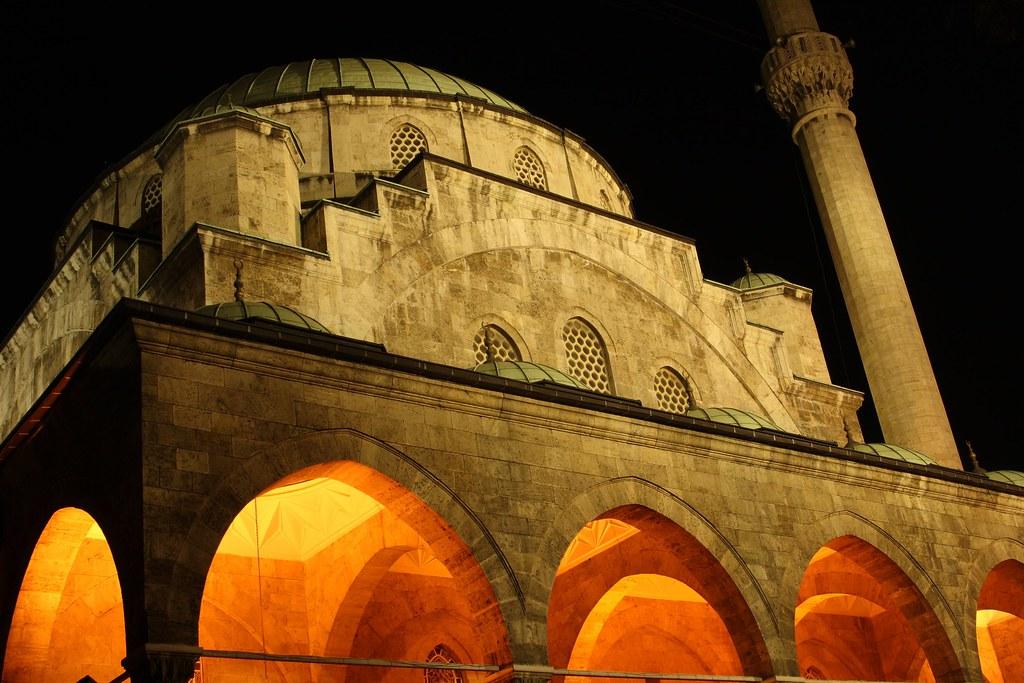 Large mosque in Ankara,Turkey at night